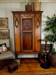 Closet Armoire English Antique Jacobean Armoire With Handsome Crown Molding And