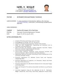 maintenance technician resume instrument technician for maintenance new