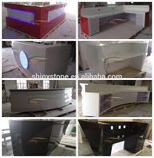 Acrylic Reception Desk Transparent Backlit Cambered Shape Acrylic Solid Surface Marble