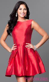 red satin scoop back homecoming dress promgirl