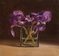 daily paintings wild irises in a glass vase postcard from provence