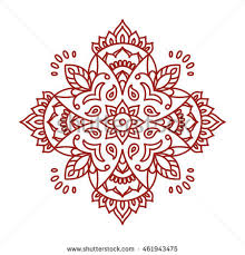 Oriental Design Abstract Symmetry Ornament Mandala On Watercolor Stock Vector