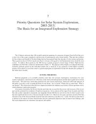 7 priority questions for solar system exploration 2003 2013 the