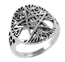 wiccan engagement rings 925 silver cut out tree of wiccan pentagram ring silvermania925