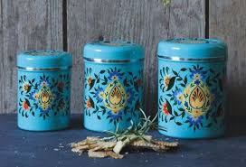 blue kitchen canister set metal kitchen canister set teal canisters painted
