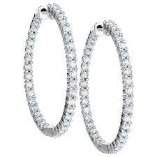 gold diamond hoop earrings hoop earrings with 1 carat tw of diamonds in 18kt white gold