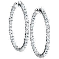 white gold diamond hoop earrings hoop earrings with 1 carat tw of diamonds in 18kt white gold