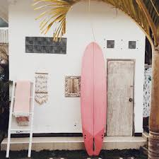 inspiration surfboard pink house palm tree interior surfing