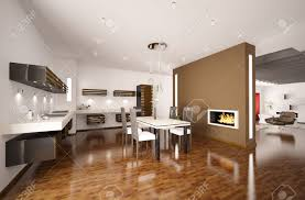 Interior Of Kitchen Interior Of Modern Brown Kitchen With Fireplace 3d Render Stock