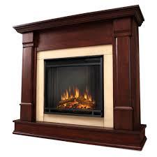 electric fireplace in dark gany
