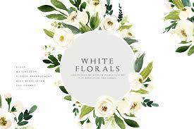 flower pro watercolor white flower clip illustrations creative market pro