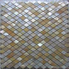 rhombus yellow lip shell mosaic tile on mesh with ceramic tile
