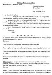 english teaching worksheets thank you letter