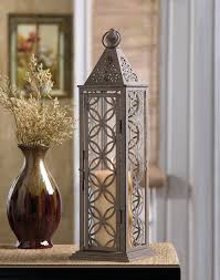 Home Decor At Wholesale Prices Tall Candle Holder Lantern Brown Iron Circle Cutouts Glass Panels