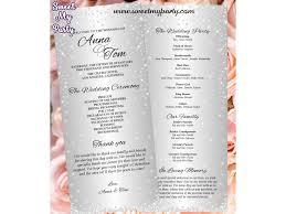 tea length wedding programs silver diamonds wedding programs tea length glitter sparkle