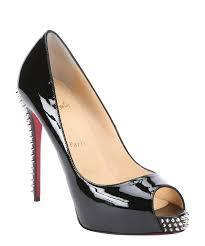christian louboutin black spiked patent leather u0027nvps 120 u0027 peep