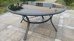 round glass outdoor table royalcraft sorrento deluxe round 4 recliner dining set black
