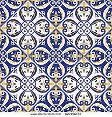italian tile pattern vector blue white stock vector 633381077