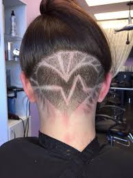undercut hair tattoo design free handed by tiffany gold hair