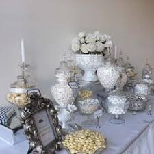 wedding candy buffet table silver grey and white wedding