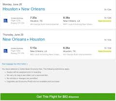 expired non stop from houston to new orleans u0026 vice versa for