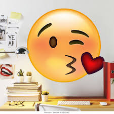 emoji winky face blowing a kiss wall decal game room decor zoom