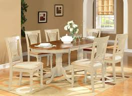 oval dinette dining room set table extension leaf w 6 cushion
