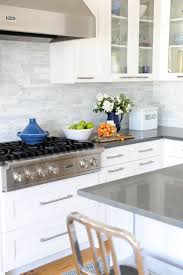 image result for white kitchen gray countertop white backsplash