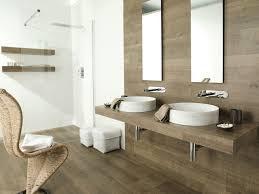 wood tile shower wall corner stone tub near teak wood cabinetry