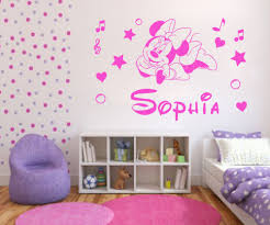 minnie mouse wall decor roselawnlutheran pw144 personalised minnie mouse kids wall sticker diy vinyl decal customer made any name baby