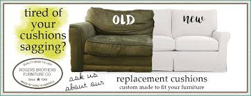 Sofa Cushions Replacement by Spring Down Micro Plush Custom Cushions Rogers Brothers Fabrics