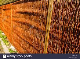 new wicker fence no nails stock photo royalty free image
