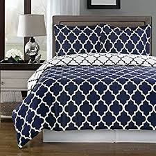 amazon com navy and white meridian full queen 3 piece duvet