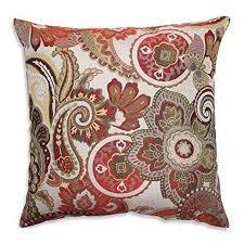18x18 red paisley throw pillowfloral motif theme pillows white