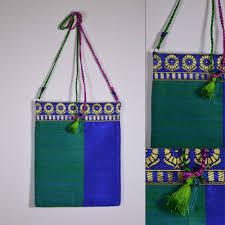 Buy Royal Blue Pure Silk Peacock And Royal Blue Raw Silk Sling Bag U2013 Desicrafts