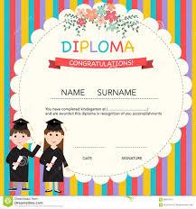 preschool graduation diploma kindergarten certificate template for preschool graduation stock