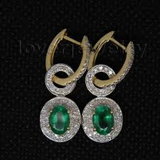 earrings for sale emerald earrings solid 14kt yellow gold real diamond