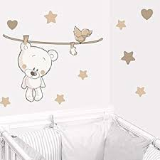 deco ourson chambre bebe juju compagnie sticker ourson teddy beige stickers bébé deco