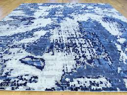 Large Low Pile Rug 9 U0027x12 U0027 High And Low Pile Abstract Design Wool And Silk Rug Sh34031