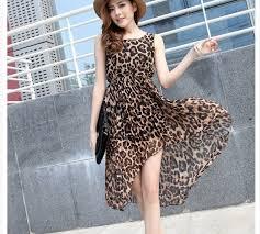 high u0026 low chiffon sleeveless dress leopard 2mfashion com