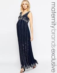 maya maternity vintage embellished maxi dress in blue lyst