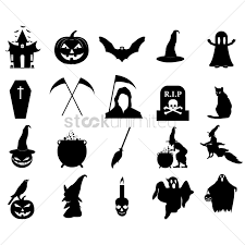 halloween graphic art halloween silhouette icons vector image 1483369 stockunlimited