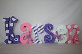 Letter Decorations For Nursery Wood Letters Pink And Purple Nursery Letters 6 Letter Set