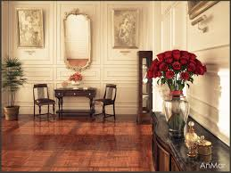 houses neoclassical house style desk chair vase red flower room