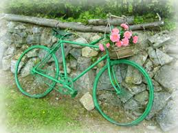 the schoolhouse bike to rustic garden ornament