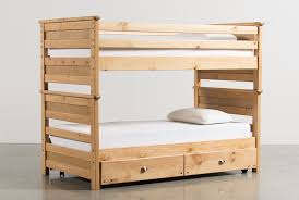 Summit Caramel TwinTwin Bunk Bed WTrundle WMattress Living Spaces - Living spaces bunk beds