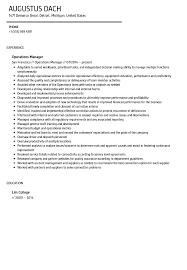 operations manager resume operations manager resume sle velvet