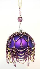 purple and gold handmade beaded bauble andaviva