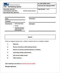 8 sample staff meeting agenda free sample example format download