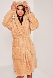 dressing gown brown soft fleece teddy dressing gown missguided